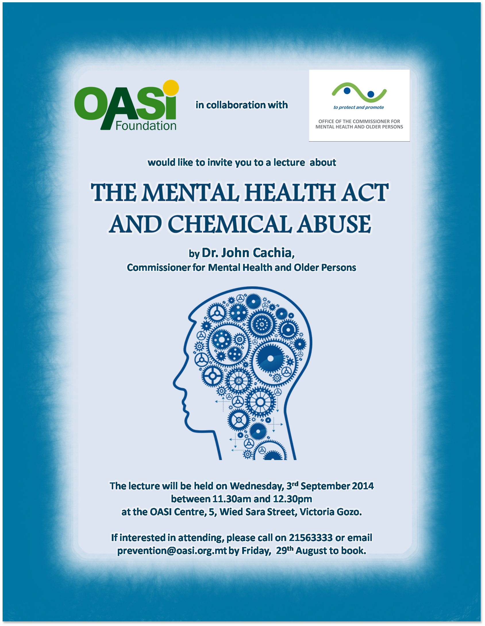 the mental health act and chemical misuse lecture poster